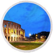 Round Beach Towel featuring the photograph Piazza Del Colosseo by Fabrizio Troiani