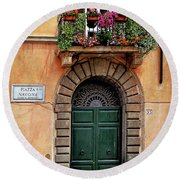 Round Beach Towel featuring the photograph Piazza Navona House by Marion McCristall