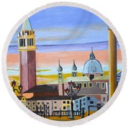 Round Beach Towel featuring the painting Piazza San Marco by Donna Blossom