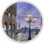 Piazza San Marco - Venice Round Beach Towel
