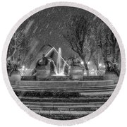 Round Beach Towel featuring the photograph Piazza Solferino In Winter-1 by Sonny Marcyan