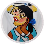 Picasso By Nora Round Beach Towel