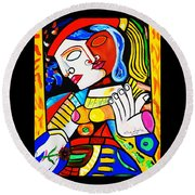 Picasso By Nora Turkish Man Round Beach Towel by Nora Shepley
