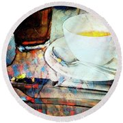 Round Beach Towel featuring the photograph Picasso's Coffee by Craig J Satterlee