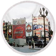 Piccadilly Circus 1950's Round Beach Towel by Wernher Krutein