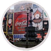 Piccadilly Circus, London, 1940's Round Beach Towel by Wernher Krutein