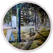 Piccadilly Gardens, Manchester Round Beach Towel