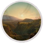 Round Beach Towel featuring the painting Pichincha by Frederic Edwin Church