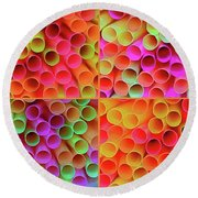Round Beach Towel featuring the photograph Pick A Straw By Kaye Menner by Kaye Menner