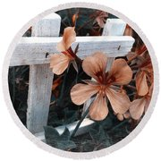 Picket Fence Blooms Round Beach Towel