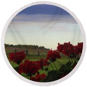 Picket Fence, Flowers And Storms Round Beach Towel