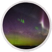 Round Beach Towel featuring the photograph Picket Fences And Proton Arc, Aurora Australis by Odille Esmonde-Morgan