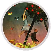 Picking Apples Together Round Beach Towel