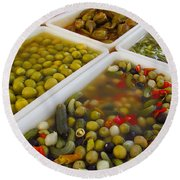 Pickled Olives And Others Round Beach Towel by Tina M Wenger