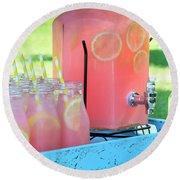 Picnic Pink Lemonade Round Beach Towel