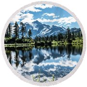 Picture Lake Round Beach Towel