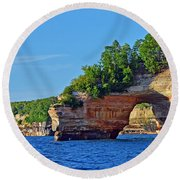 Round Beach Towel featuring the photograph Pictured Rocks by Rodney Campbell
