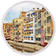 Picturesque Buildings Along The River In Girona, Catalonia Round Beach Towel