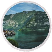 Picturesque Hallstatt Village Round Beach Towel