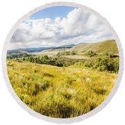 Picturesque Tasmanian Field Landscape Round Beach Towel