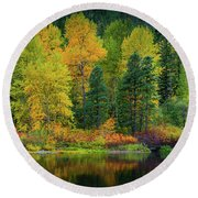 Picturesque Tumwater Canyon Round Beach Towel