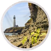 Pidgeon Point Lighthouse Round Beach Towel