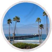 Pier And Palms Round Beach Towel