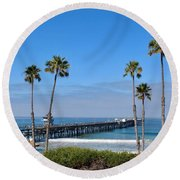 Pier And Palms Round Beach Towel