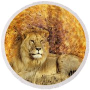 Pieces Of A Lion Round Beach Towel