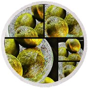 Pieces Of Lime Collage Round Beach Towel