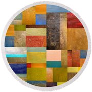 Pieces Project Lll Round Beach Towel by Michelle Calkins