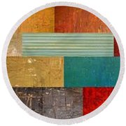 Pieces Project V Round Beach Towel by Michelle Calkins