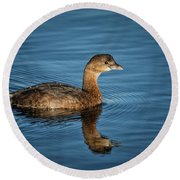 Round Beach Towel featuring the photograph Pied Billed Grebe by Randy Hall