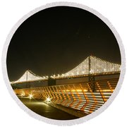 Pier 14 And Bay Bridge Lights Round Beach Towel