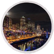 Pier 66 Full Moon Rising Over Seattle Round Beach Towel