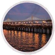 Pier 7 And Bay Bridge Lights At Sunset Round Beach Towel