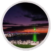 Pier And Lighthouse Round Beach Towel