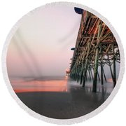 Pier And Surf Round Beach Towel