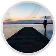 Pier At Sunset 16x20 Round Beach Towel