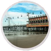 Round Beach Towel featuring the photograph Pier Daytona Beach by Carolyn Marshall