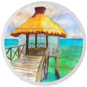Pier Gazebo At Mayan Palace Round Beach Towel
