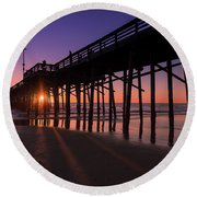 Pier In Purple Round Beach Towel