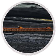 Round Beach Towel featuring the photograph Pier Into Darkness by Kelly Reber