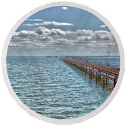 Pier Into The English Channel Round Beach Towel