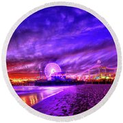 Pier Of Lights Round Beach Towel