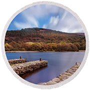 Round Beach Towel featuring the photograph Pier On The Upper Lake In Glendalough - Wicklow, Ireland by Barry O Carroll