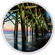 Pier Perspective Round Beach Towel by David Smith