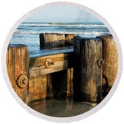 Pier Perspective Round Beach Towel