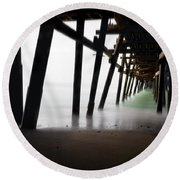 Round Beach Towel featuring the photograph Pier Pressure by Sean Foster