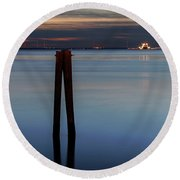 Round Beach Towel featuring the photograph Pier Pylon At Chamberlin by Jerry Gammon